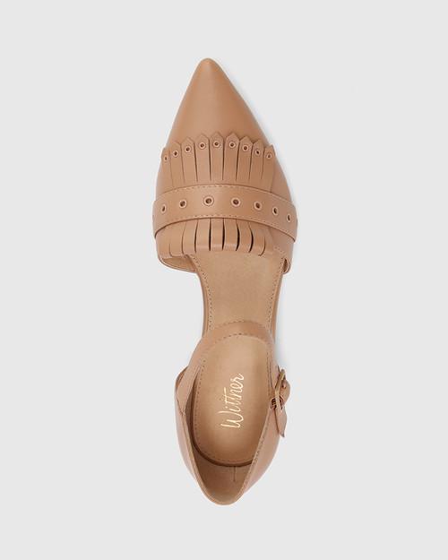Marshall Desert Beige Leather Pointed Toe Flat. & Wittner & Wittner Shoes