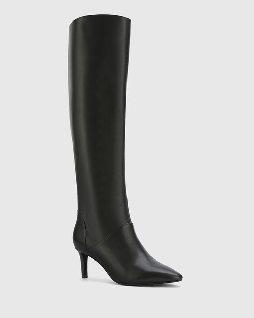 Daffy Black Leather Stiletto Long Boot.