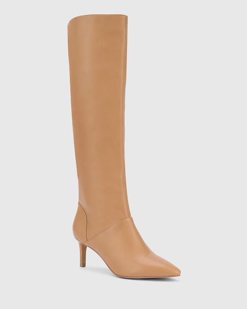 Daffy Desert Beige Leather Stiletto Long Boot.