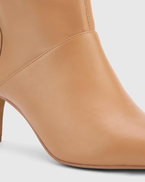 Daffy Desert Beige Leather Stiletto Long Boot. & Wittner & Wittner Shoes