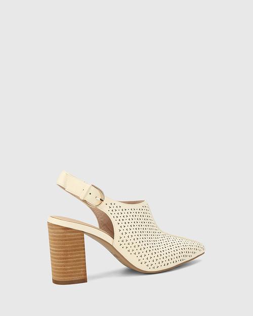 Siam Buttercream Leather Block Heel Slingback. & Wittner & Wittner Shoes