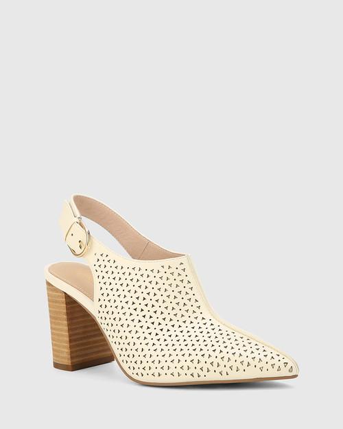 Siam Buttercream Leather Block Heel Slingback.