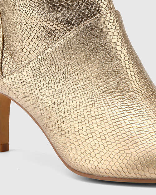 Daffy Tuscan Gold Lizard Print Leather Stiletto Long Boot. & Wittner & Wittner Shoes