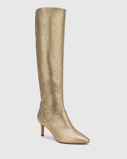 Daffy Tuscan Gold Lizard Print Leather Stiletto Long Boot.