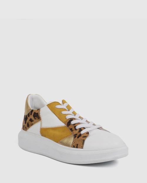 Fernandes White & Gold Leopard Print Sneaker