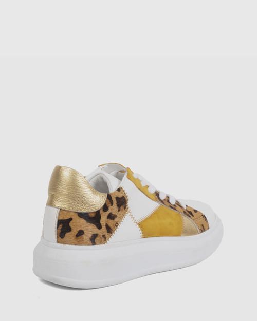 Fernandes White & Gold Leopard Print Sneaker.