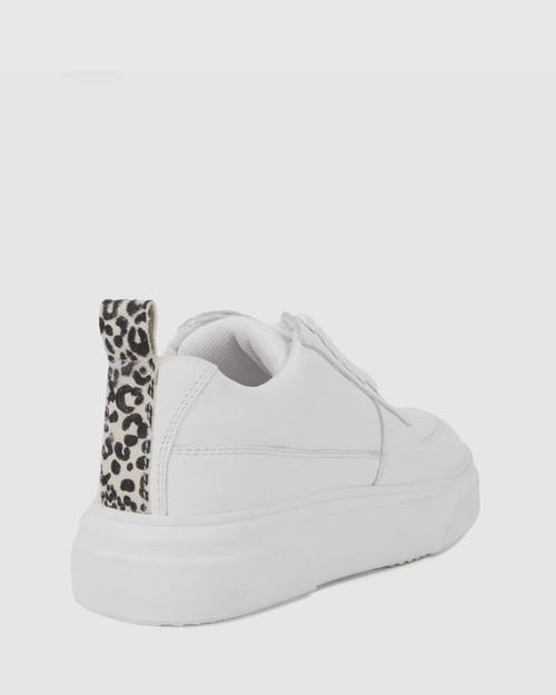 Filmore White Leopard Print Lace Up Sneaker.