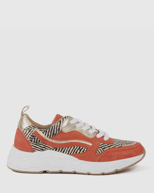 Fifa Coral Leather Zebra Print Lace Up Sneaker. & Wittner & Wittner Shoes