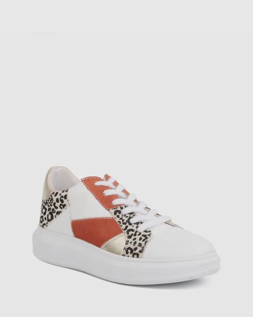 Fernandes Coral & Gold Leopard Print Sneaker