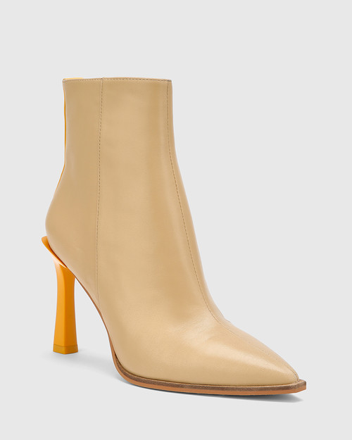 Harlo Clay / Dandelion Leather Pointed Toe Ankle Boot.