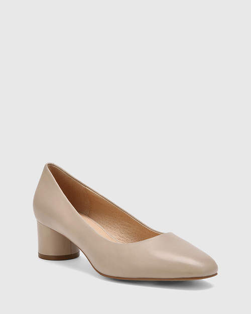 Galore Light Oyster Leather Round Toe Pump.