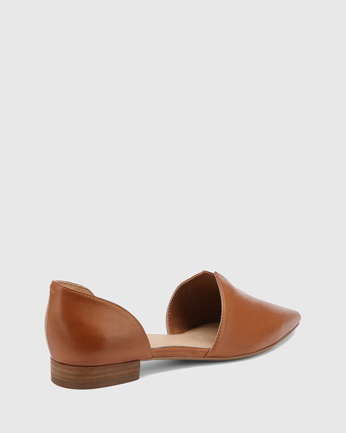 Midori Dark Cognac Leather Pointed Toe Flat. & Wittner & Wittner Shoes