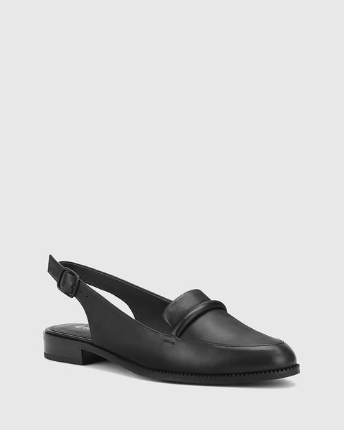 Halfrida Black Leather Sling Back Flat.