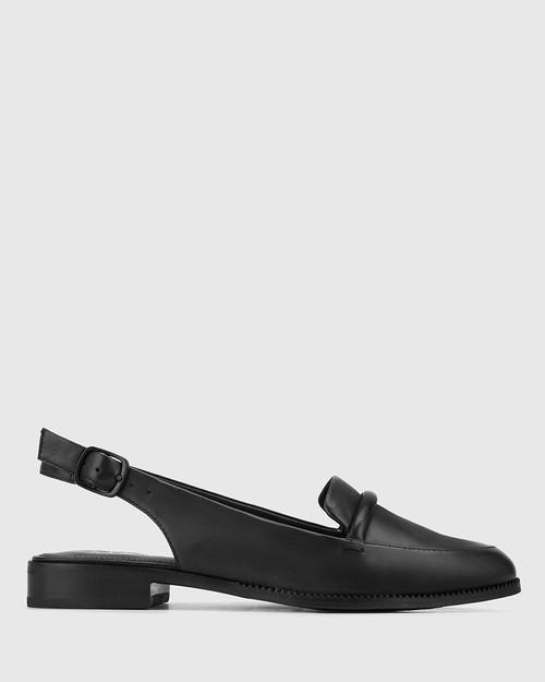 Halfrida Black Leather Sling Back Flat. & Wittner & Wittner Shoes