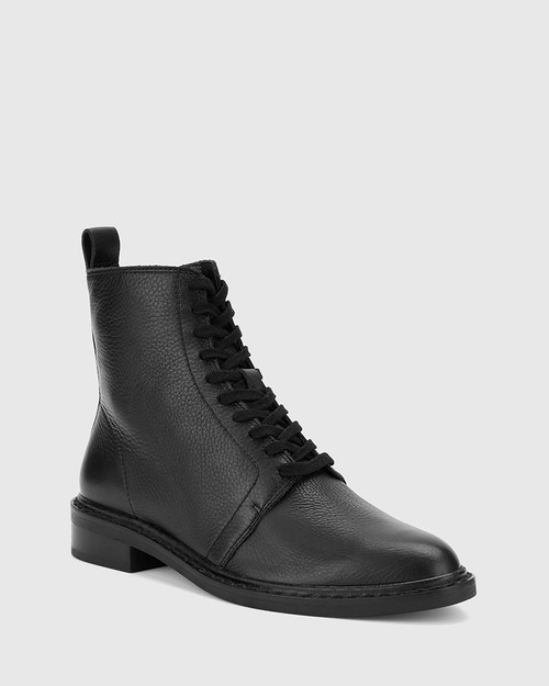 Fredrick Black Leather Lace Up Ankle Boot.