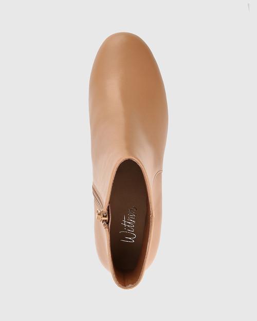 Luca Desert Beige Leather Block Heel Ankle Boot. & Wittner & Wittner Shoes
