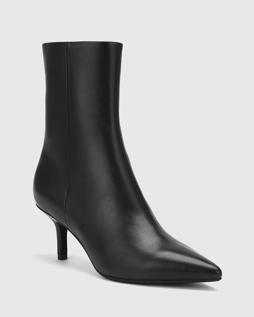 Devra Black Leather Pointed Toe Stiletto Heel Ankle Boot.