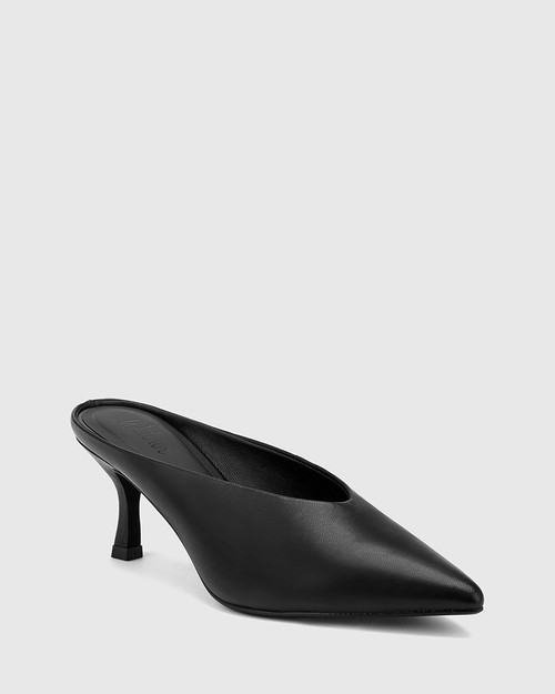 Devlin Black Leather Stiletto Heel Pointed Toe Mule.