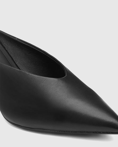 Devlin Black Leather Stiletto Heel Pointed Toe Mule.