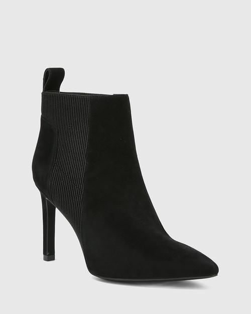 Huske Black Suede Leather Stiletto Heel Ankle Boot.