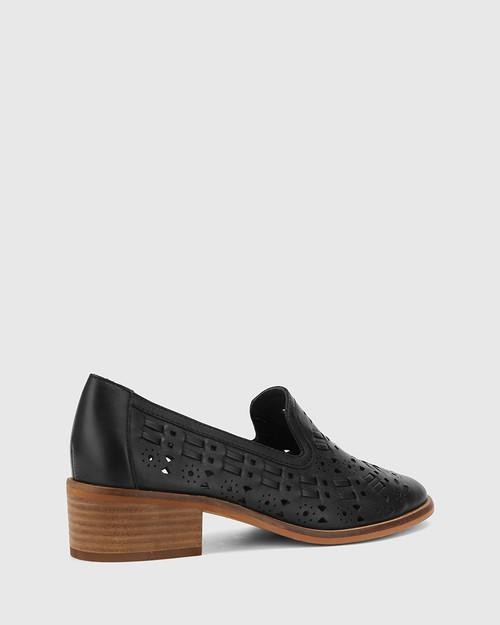 Flash Black Leather Block Heel Loafer. & Wittner & Wittner Shoes