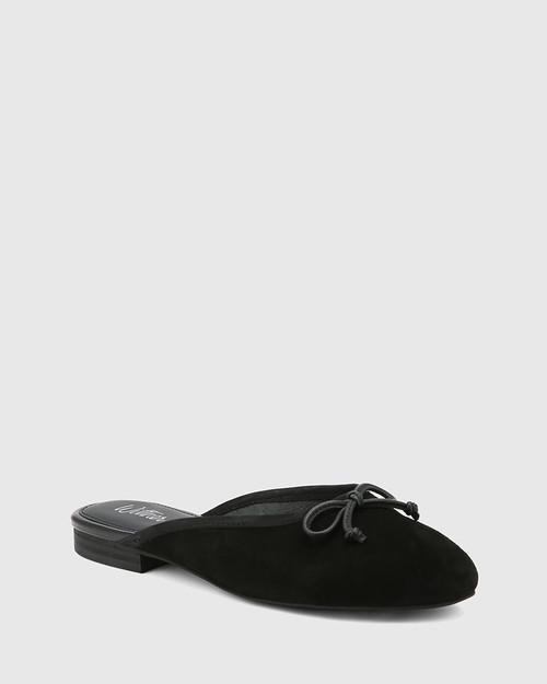 Ademar Black Suede Leather Round Toe Mule.