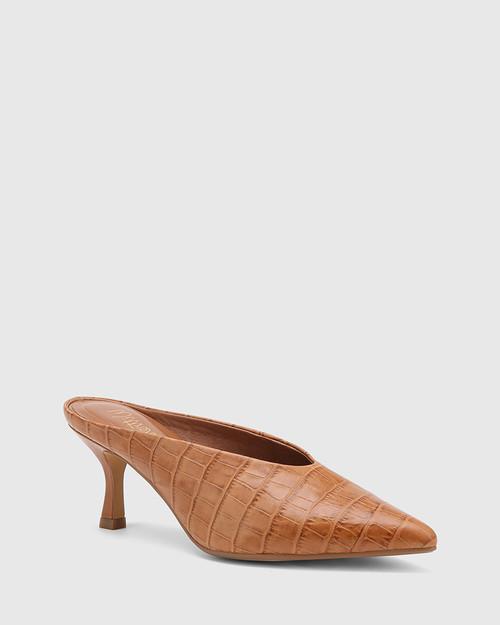 Devlin Tan Croc-Embossed Leather Stiletto Heel Pointed Toe Mule