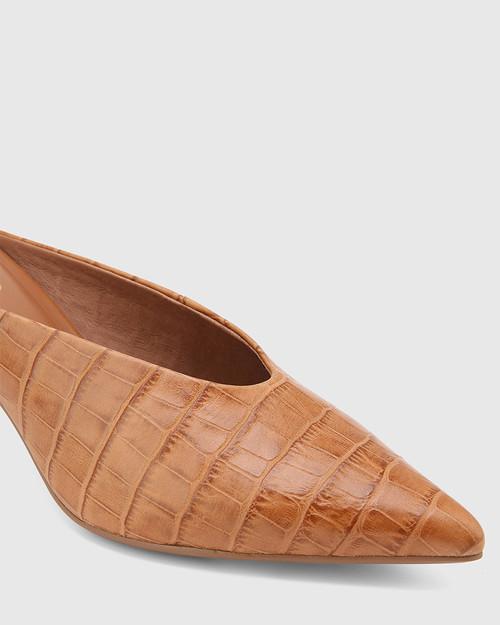 Devlin Tan Croc-Embossed Leather Stiletto Heel Pointed Toe Mule & Wittner & Wittner Shoes