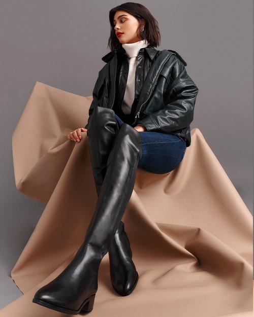 Gianna Black Leather / Neoprene Stretch Over The Knee Boot. & Wittner & Wittner Shoes