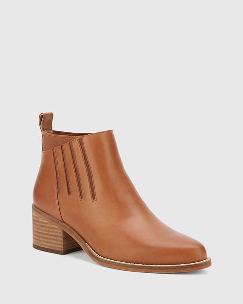 Jaime Dark Cognac Leather Ankle Boot. & Wittner & Wittner Shoes