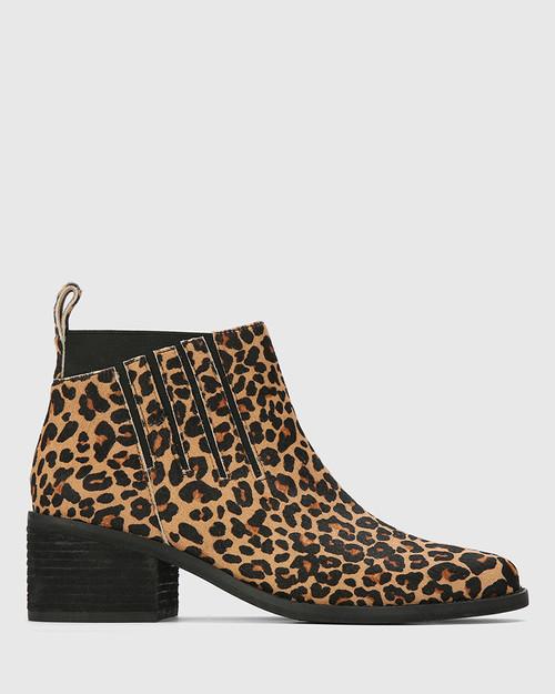 Jaime Leopard Print Hair-On Leather Ankle Boot. & Wittner & Wittner Shoes