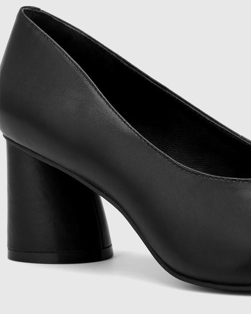 Destine Black Leather Flared Heel Pump. & Wittner & Wittner Shoes