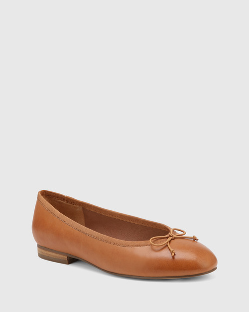 Aroma Tan Leather Ballet Flat.