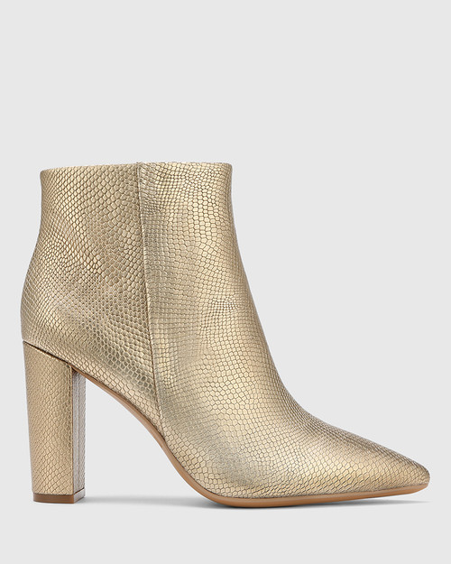 Hurlie Tuscan Gold Lizard Print Leather Block Heel Ankle Boot. & Wittner & Wittner Shoes