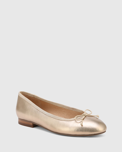 Aroma Tuscan Gold Leather Ballet Flat.