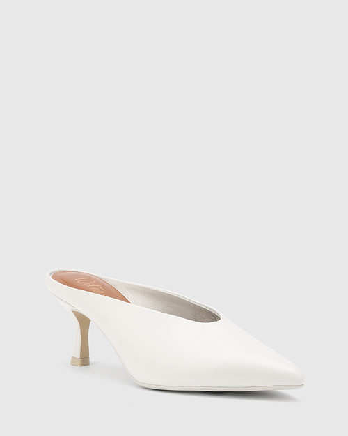 Devlin Winter White Leather Stiletto Heel Mule.