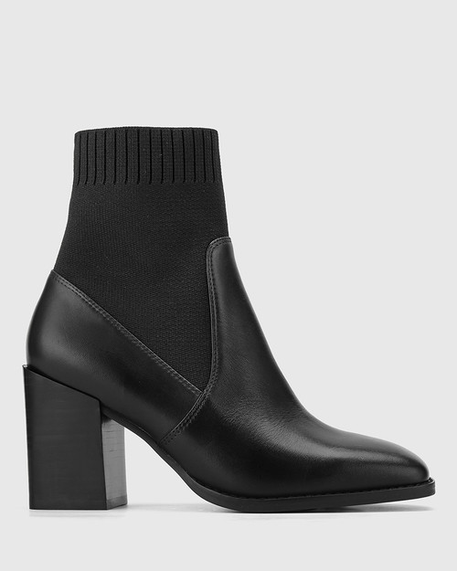 Simmie Black Leather Block Heel Pull On Ankle Boot. & Wittner & Wittner Shoes