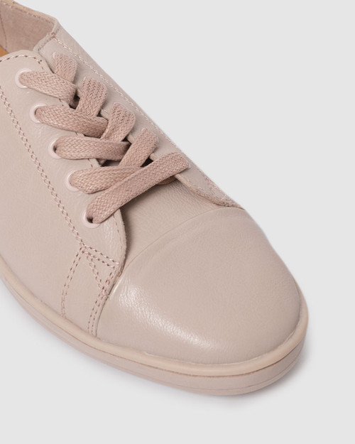 Breezy Blush Nude Leather Lace Up Sneaker. & Wittner & Wittner Shoes