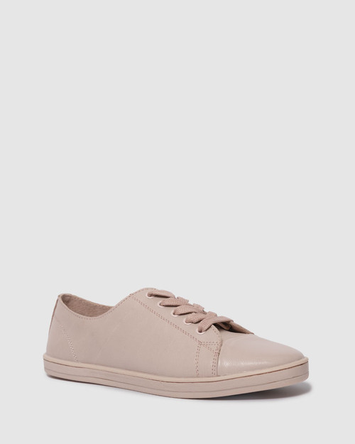 Breezy Blush Nude Leather Lace Up Sneaker.