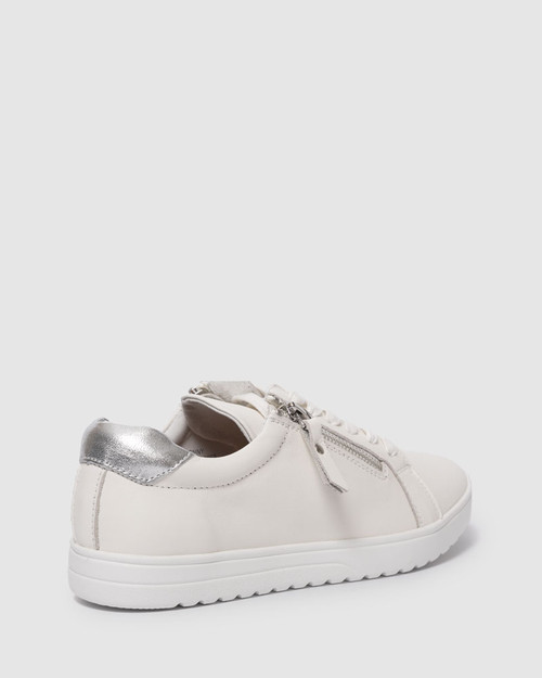 Bonny White Leather Lace Up Sneaker. & Wittner & Wittner Shoes