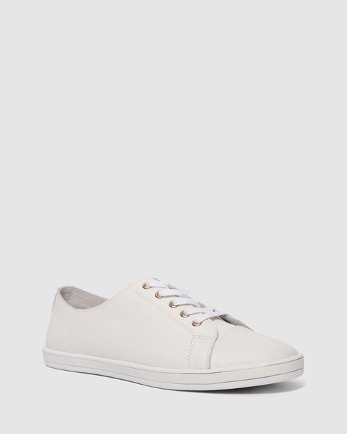 Breezy White Leather Lace Up Sneaker. & Wittner & Wittner Shoes
