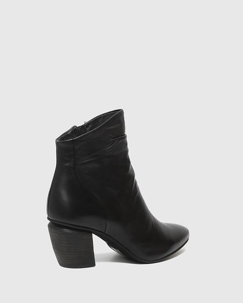 Attius Black Leather Block Heel Ankle Boot. & Wittner & Wittner Shoes