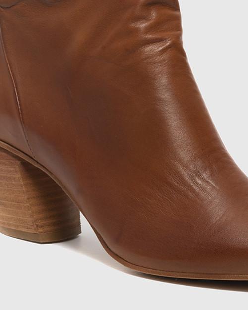 Attius Brandy Leather Block Heel Ankle Boot. & Wittner & Wittner Shoes