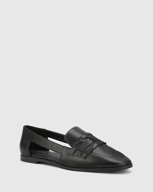 Arya Black Leather Circular Trim Loafer.