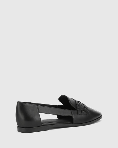 Arya Black Leather Circular Trim Loafer. & Wittner & Wittner Shoes