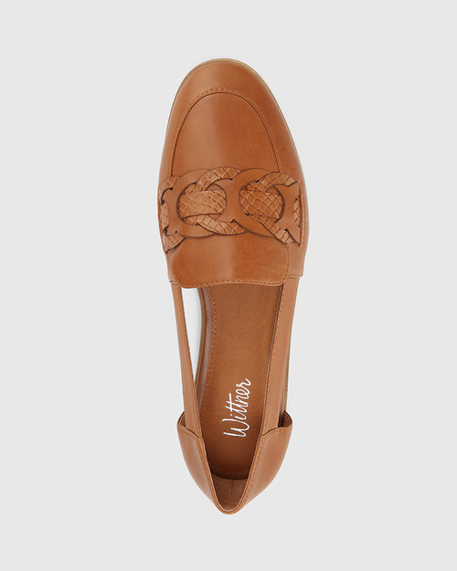Arya Brandy Leather Circular Trim Loafer. & Wittner & Wittner Shoes
