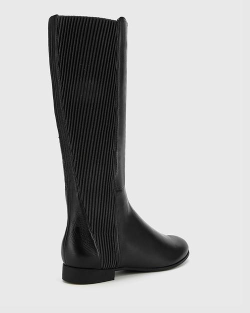 Drue Black Leather Stretch Knit Gusset Round Toe Long Boot. & Wittner & Wittner Shoes