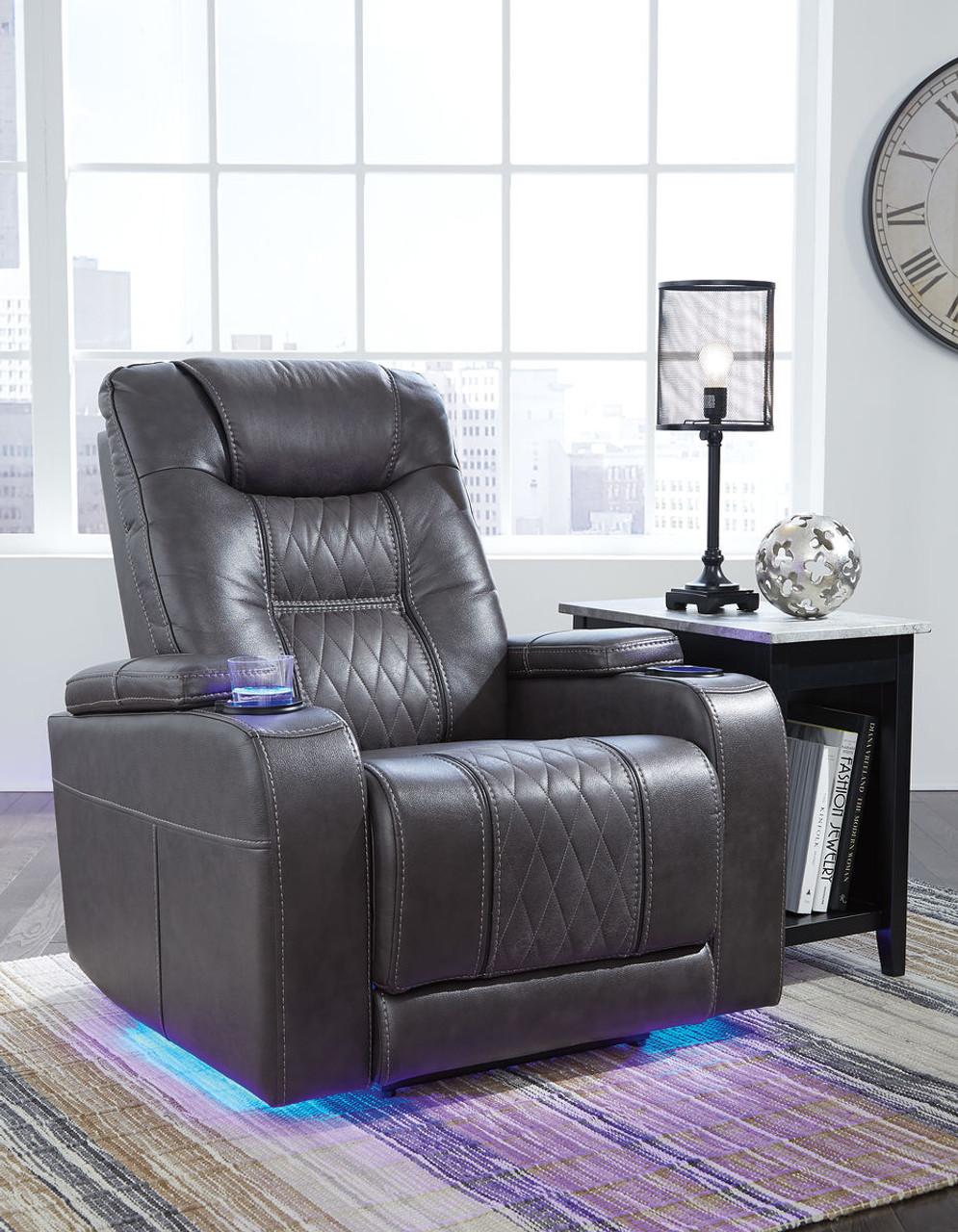 Excellent The Composer Gray Power Recliner Adjustable Headrest Inzonedesignstudio Interior Chair Design Inzonedesignstudiocom