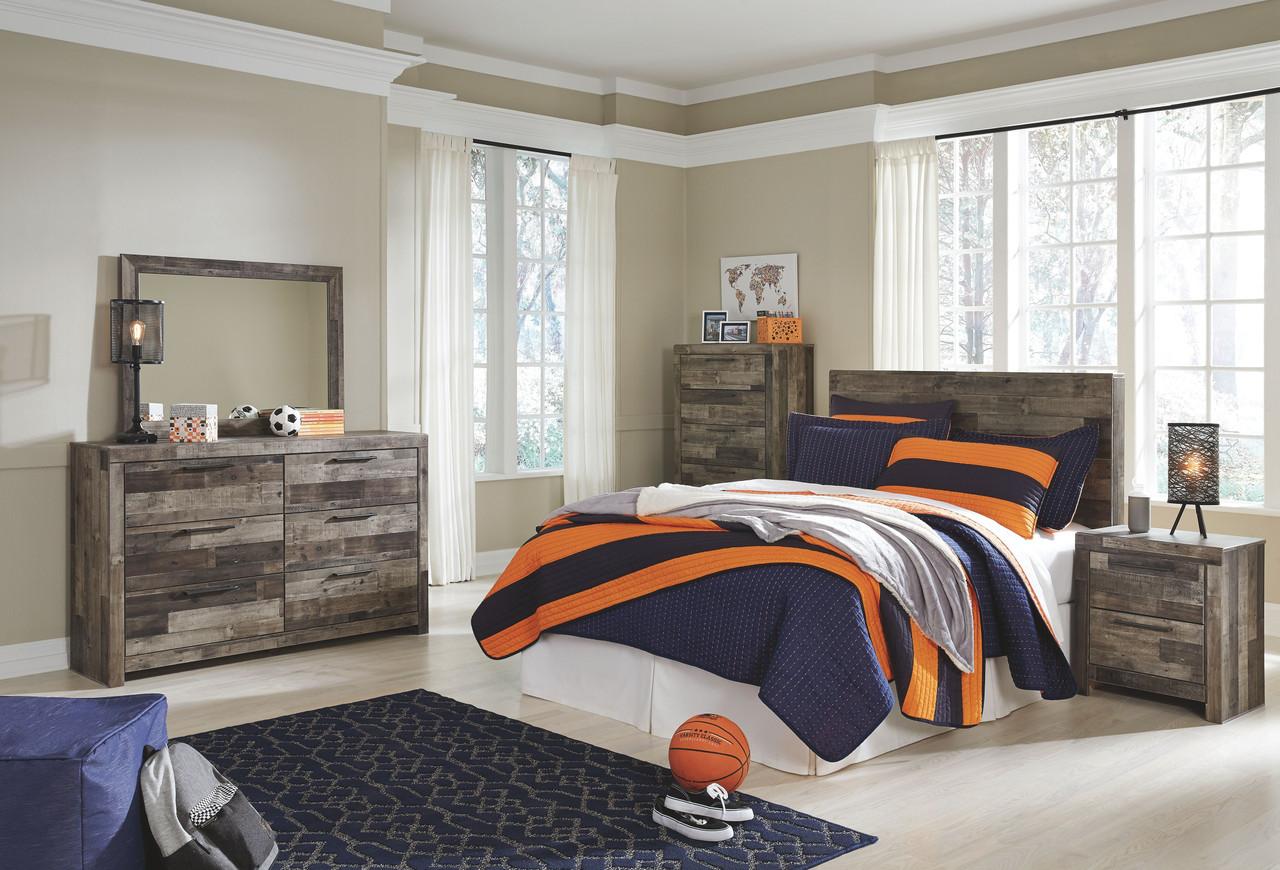 The Derekson Multi Gray Full Panel Headboard Dresser