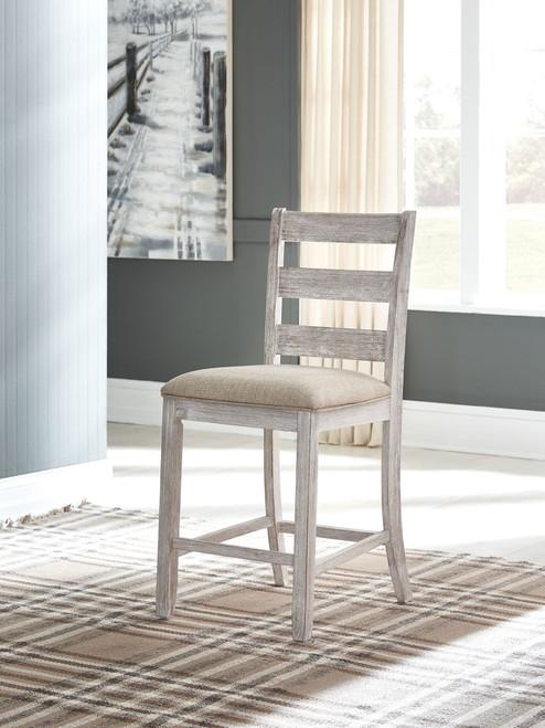 Skempton White/Light Brown Upholstered Barstool